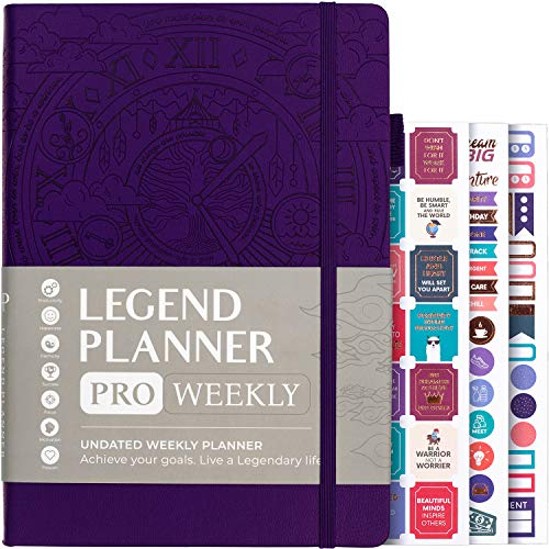 Legend Planner PRO – Deluxe Weekly & Monthly Life Planner to Increase Productivity and Hit Your Goals. Time Management Organizer Notebook – Undated – 7 x 10' Hardcover +...